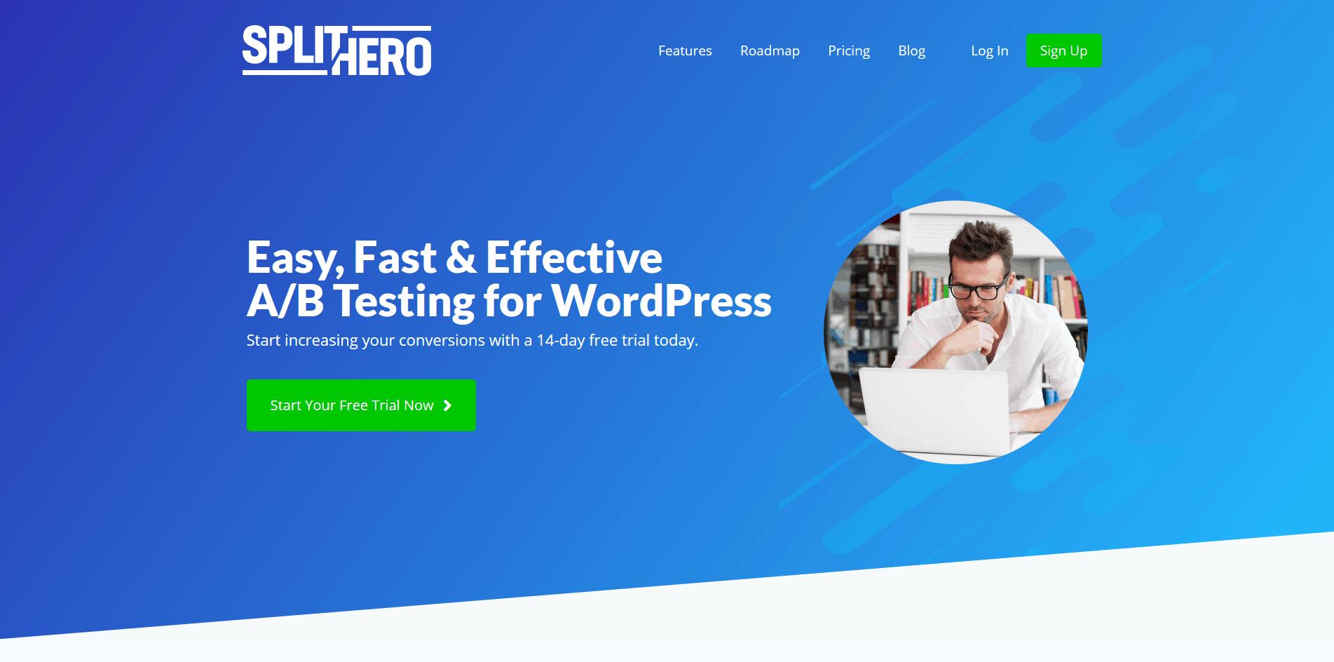 Split Hero website screenshot