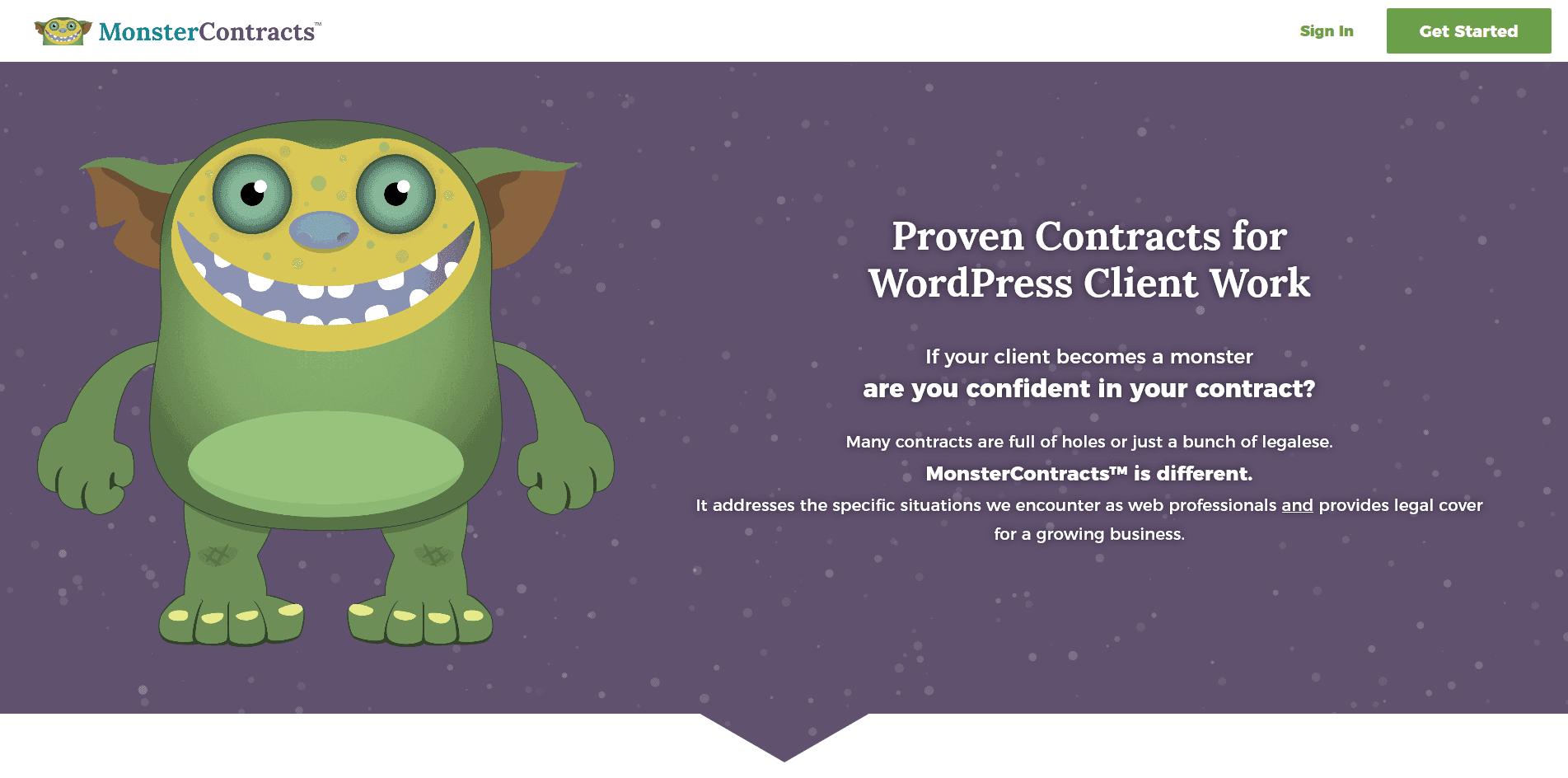 Monster Contracts website screenshot
