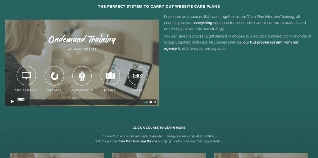 Care Plan Intensive training screenshot