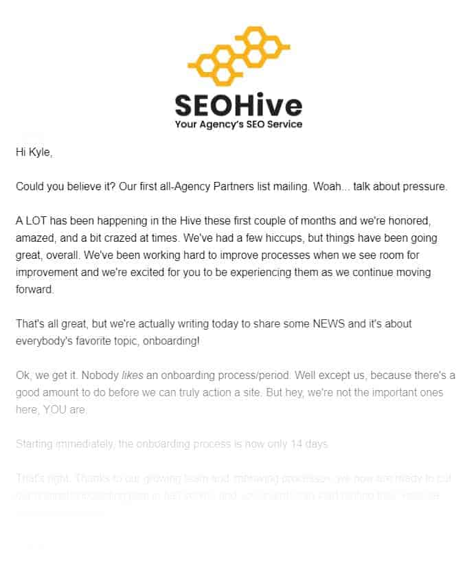 Seohive Onboarding Procedure Email