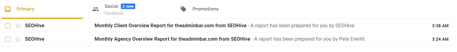 Seo Hive Reports In Inbox
