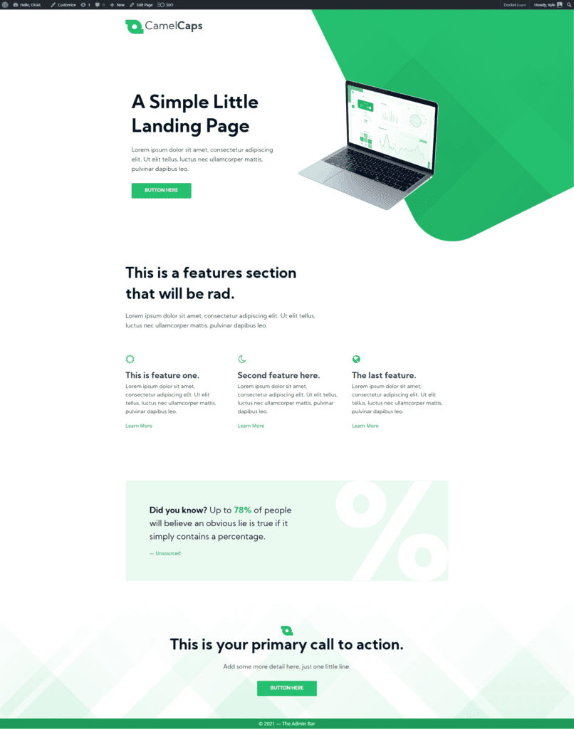 CamelCaps landing page built with Oxygen