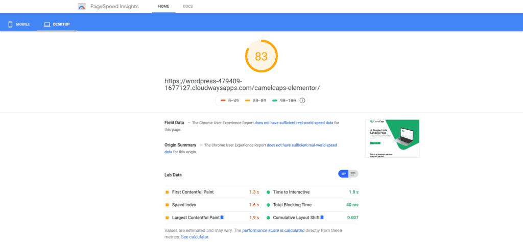 PageSpeed Insights - Desktop, Elementor