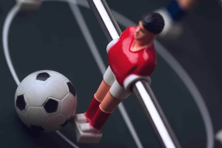 Closeup Of Football Figurine On Foosball Table Soccer Game