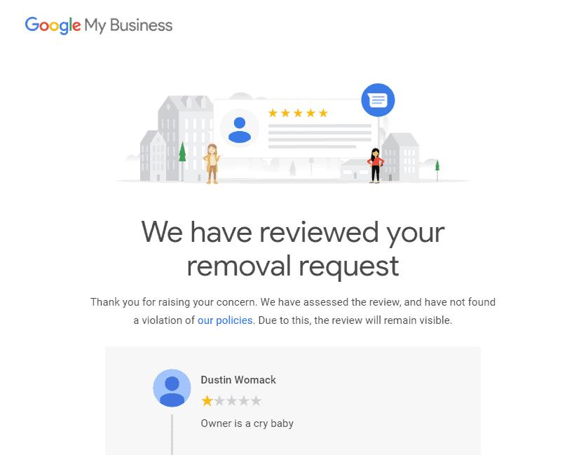 Request denial email screenshot