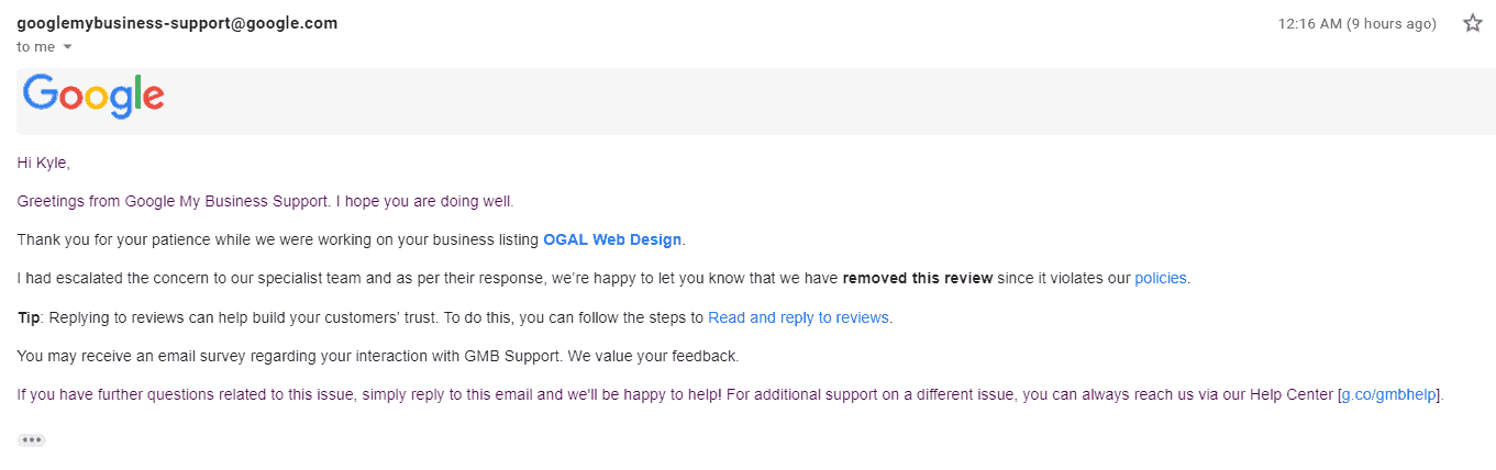 Email screenshot of removal confirmation